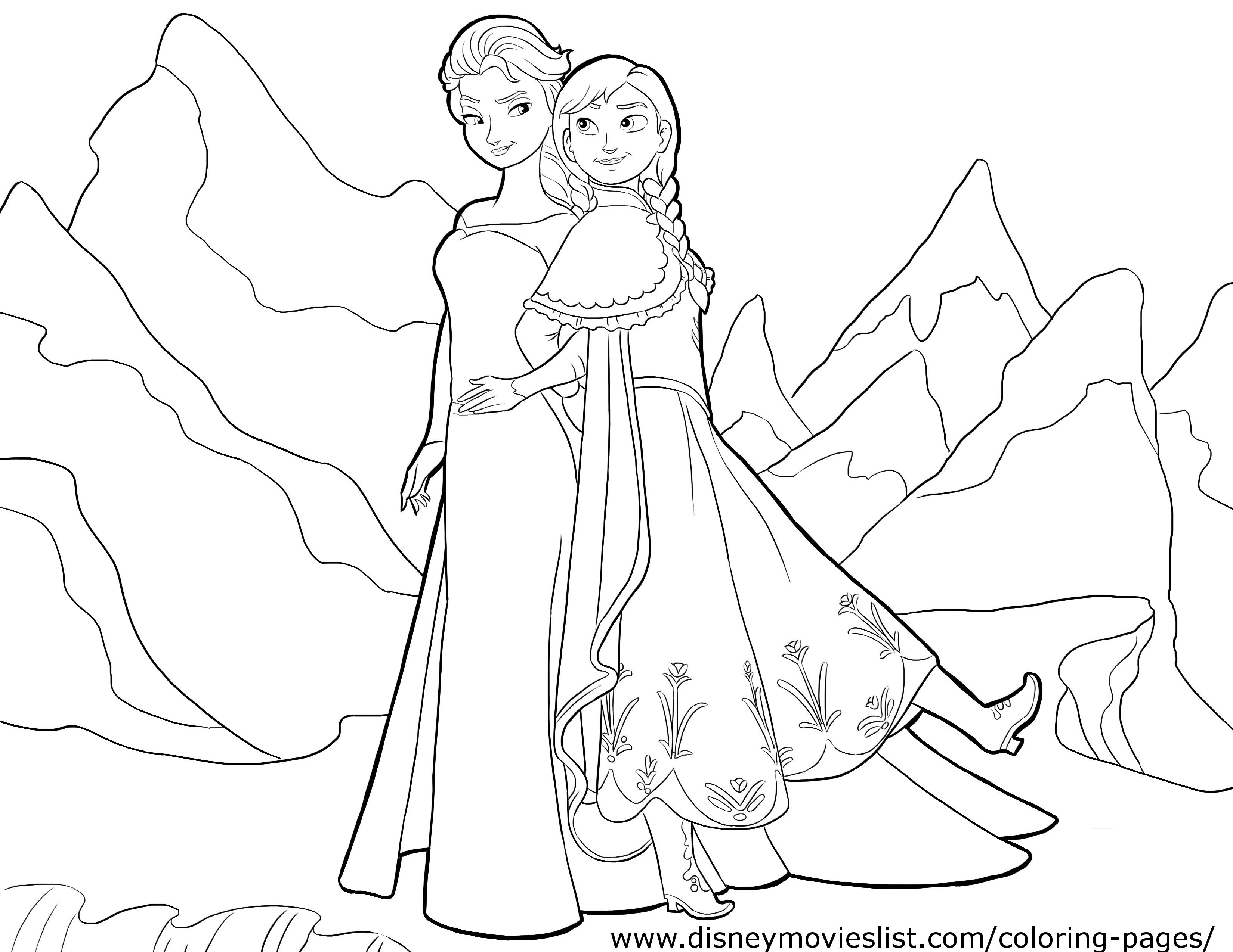FROZEN Elsa & Anna Coloring Page - Lovebugs and Postcards