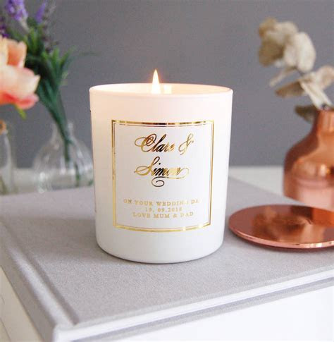 personalised wedding gift candle soy wax by made with love
