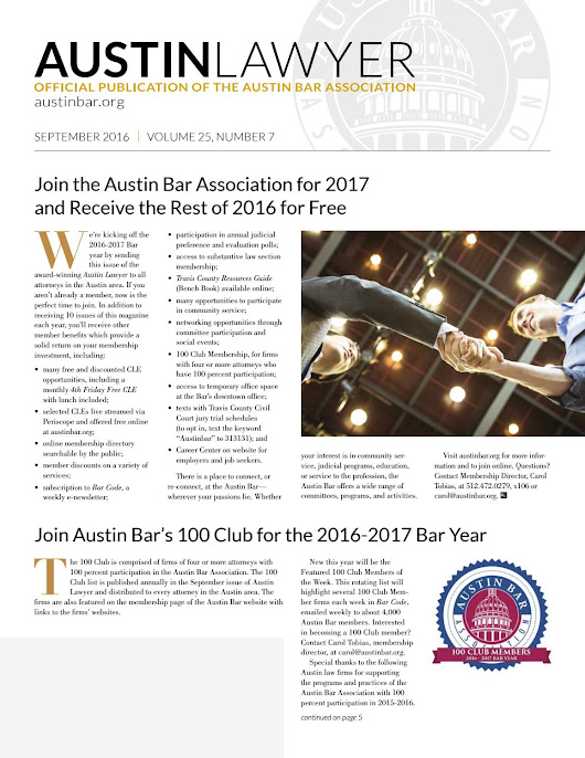 Austin Lawyer, September 2016