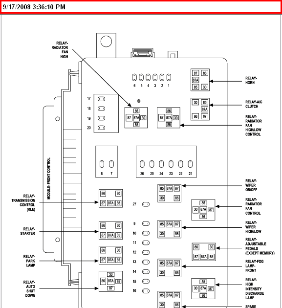 2006 Chrysler 300 Fuse Box And Relay Diagram RAR Download