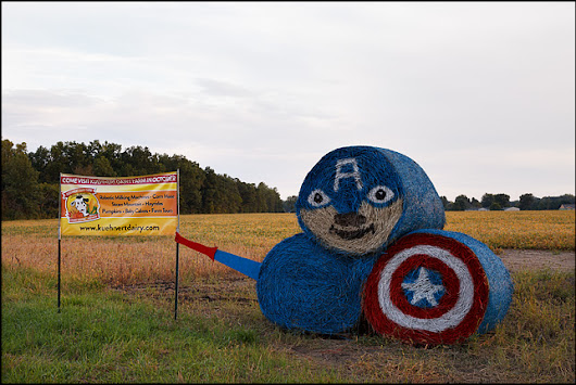 Captain America Hay Bales | Photograph by Christopher Crawford