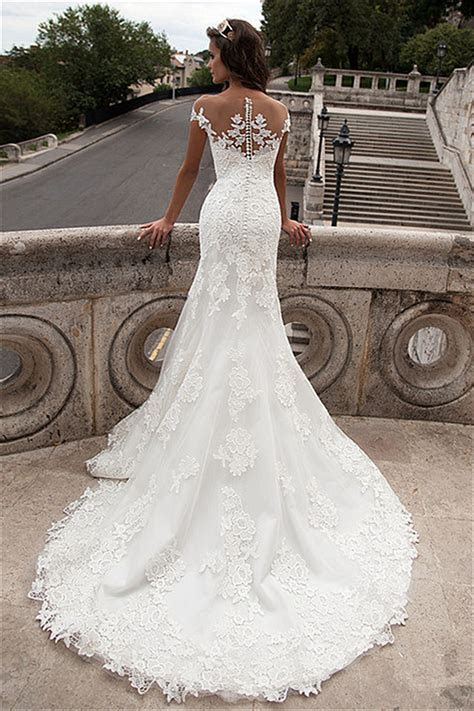 Sheath Sheer Top Wedding Dresses 2018 Lace Court Train