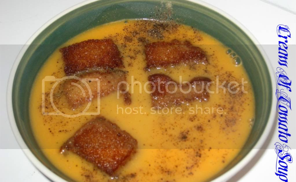 Cream of tomato soup with bread crumbs tried and tasted for Art of indian cuisine