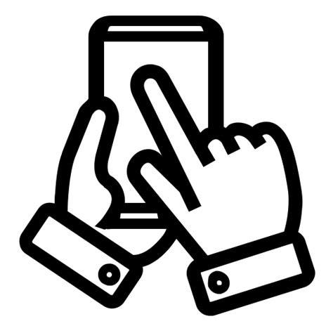 hands hand  screen press handphone icon