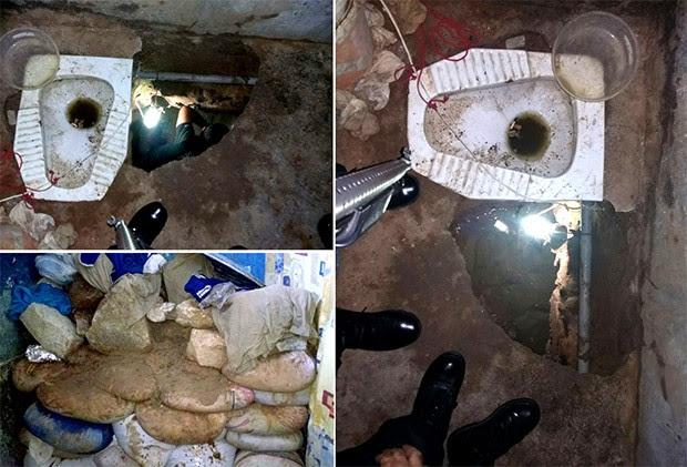 Túnel foi escavado ao lado de um vaso sanitário, dentro do banheiro de uma das celas; terra retirada do buraco estava sendo ensacada (Foto: G1/RN)