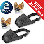 "2 Pack Insten Dog Muzzle Guardian Gear Black Fabric Nylon Adjustable No Bite Bark Size 5.5"" 5.5 inch"