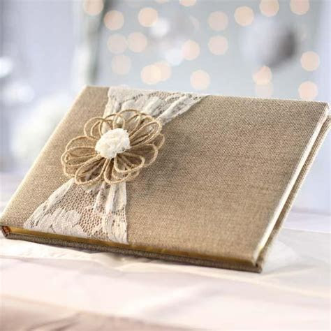 Rustic Lace and Burlap Guest Book   Guest Books and Pens