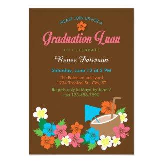 Hawaiian Hibiscus Luau Graduation Invitation