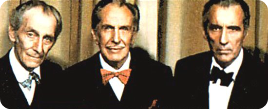 Peter Cushing, Vincent Price, and Christopher Lee
