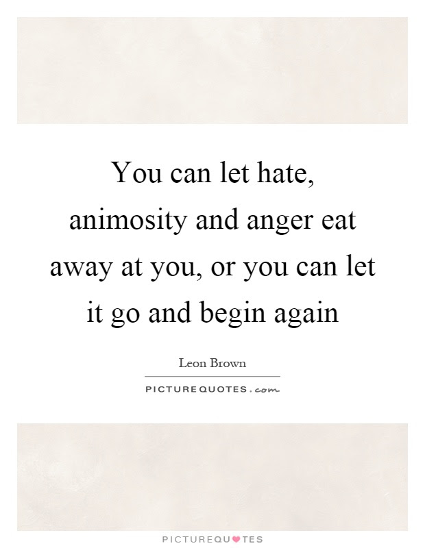 You Can Let Hate Animosity And Anger Eat Away At You Or You