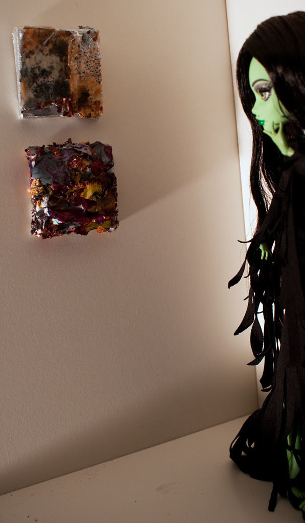 mini paintings made with recycled acrylic paint skins; Monster High witch doll