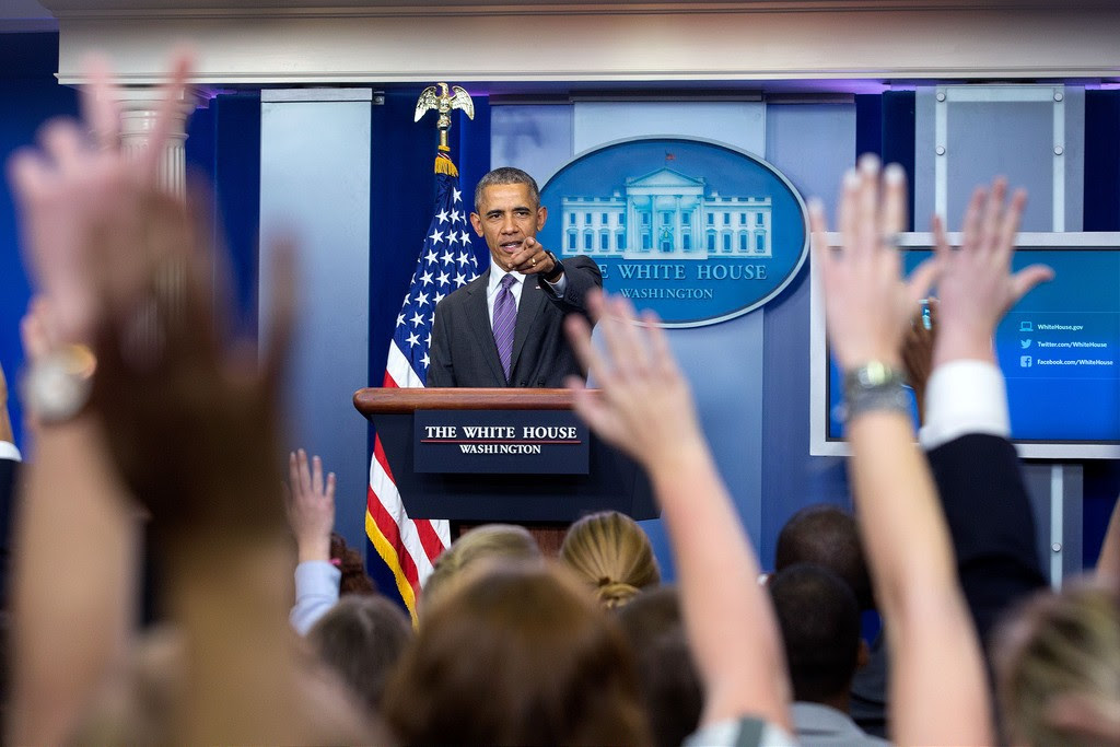 President Barack Obama takes questions from student reporters during College Reporter Day in the James S. Brady Press Briefing Room of the White House, April 28, 2016. Photo: Amanda Lucidon / White House
