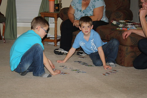 Nathan and Owen playing cards
