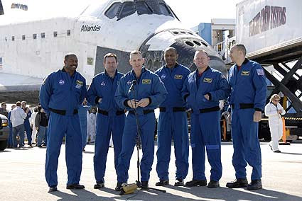 STS-129 astronauts after landing at KSC
