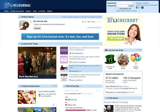 livejournal free blog