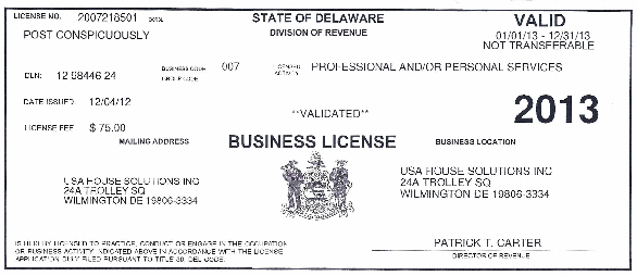 USA House Solutions Business License