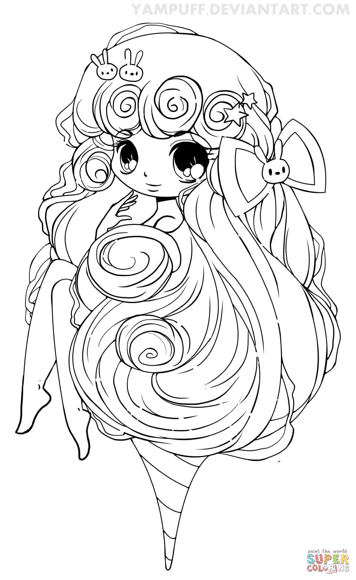 Dibujo De Chica Chibi Con Algodón De Azúcar Para Colorear Dibujos