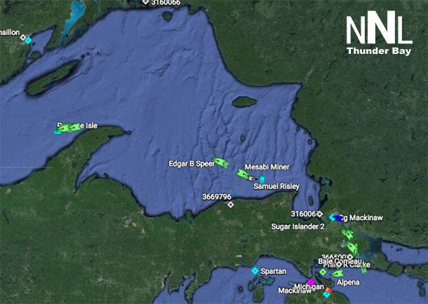Lake Superior is busy already early in the 2015 Shipping Season - There are ships gathering at the Soo Locks...