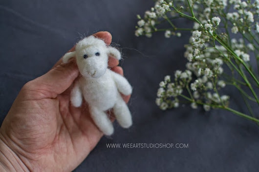 Tiny Lamb Photography Prop Needle Felted
