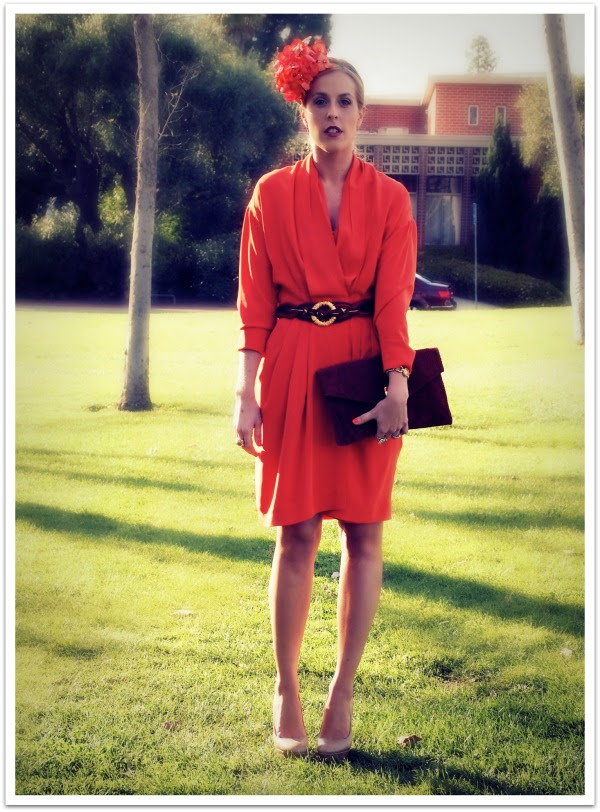 """""""Orange, Orange Dress, Floral Hat, Floral, Spring Trends, Personal Style"""""""
