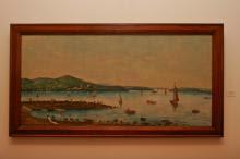 Vista para o Guaíba, obra de Falcone, mostra barcos a vapor e lavadeiras
