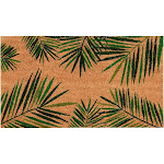 Natural Coir Door Mat - All Season Indoor Outdoor Welcome Doormat, Easy Clean, Pvc Anti-Slip Backing Front Entry Mats, Tropical Green Palm Leaves