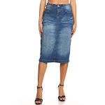 Women's Juniors/Plus Size calf - Length Pencil Stretch Denim Skirt