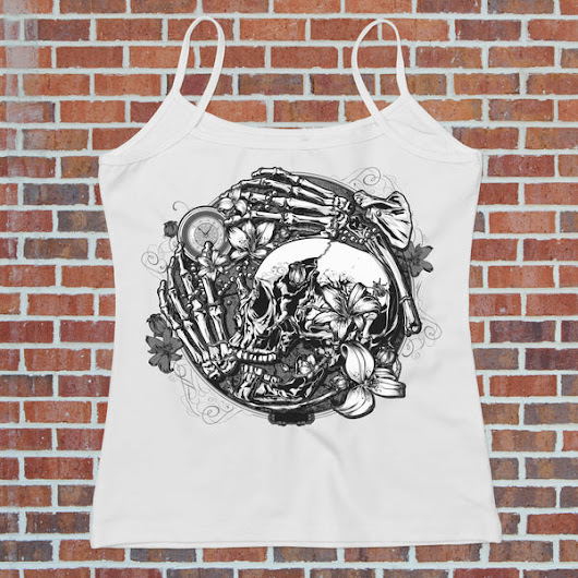 Clockwork Skull Graphic - Women's Biker Tank