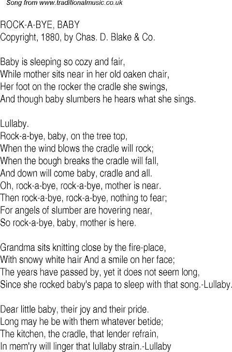 Rock A Bye Baby Song Lyrics Download