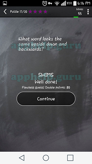 Word Quiz Riddles Level 8 Puzzle 17 What Word Looks Same Upside