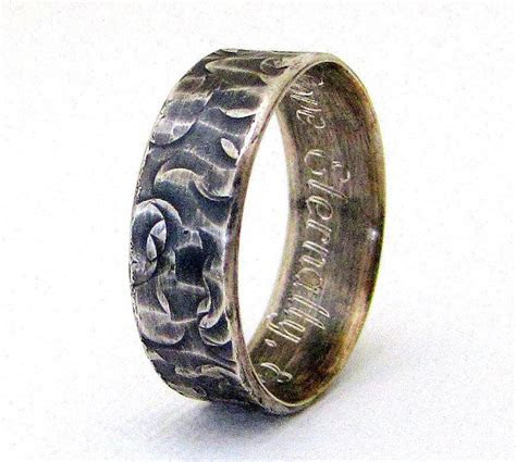 Engraved Wedding Band Hammered Silver Wedding Ring