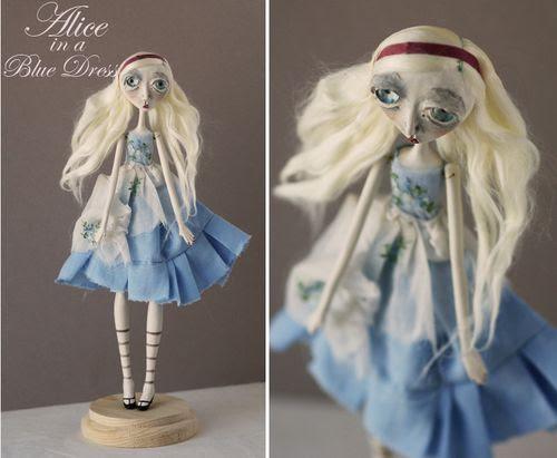 Alice in a blue dress mosaic