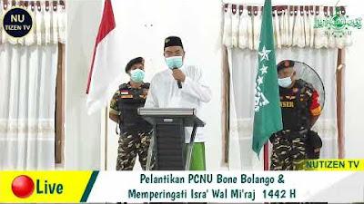Sambutan Ketua Tanfidziah PCNU Bone Bolango Ustadz Suleman Adadau saat Pelantikan
