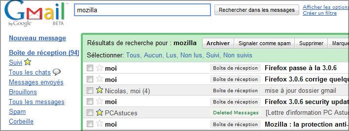 Le moteur de recherche de Gmail
