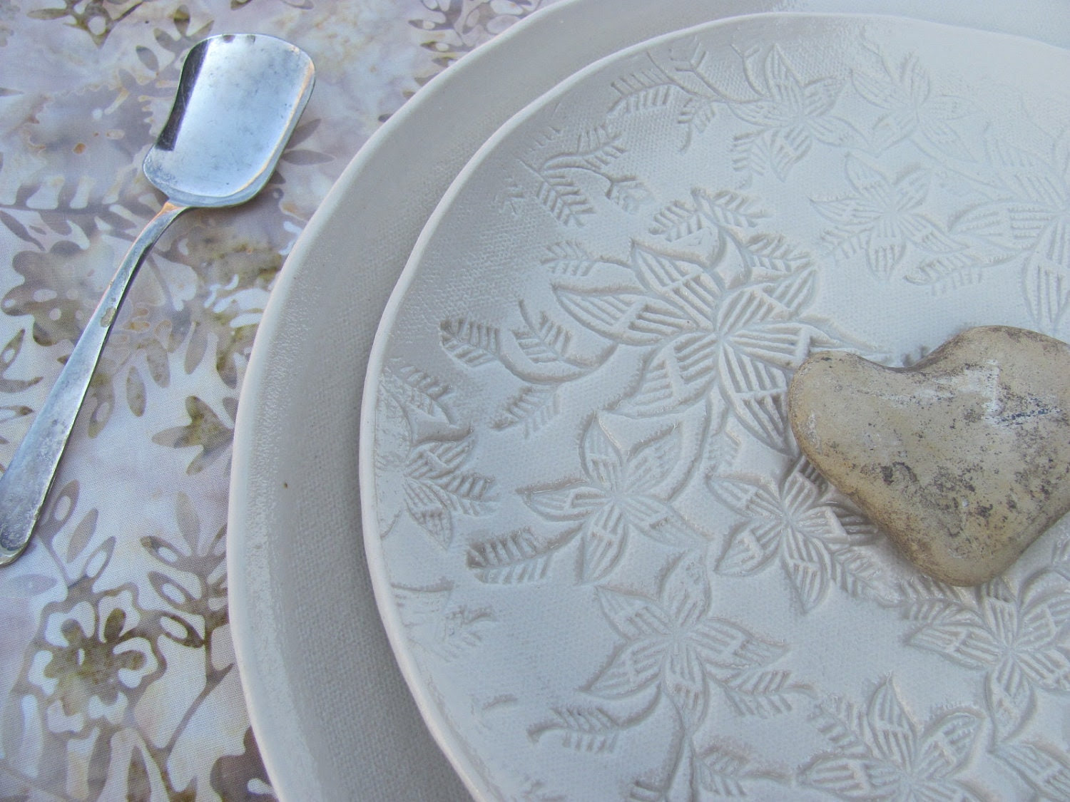 Made to Order, Porcelain Dinner and Salad Plate Set in a Simple White Handmade