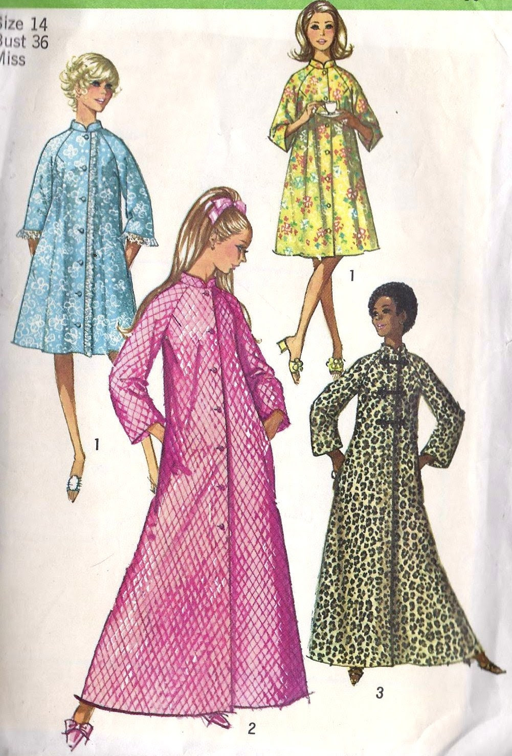 """1970s Misses Robe in 2 Lengths Vintage Sewing Pattern Simplicity 9074 bust 36"""""""