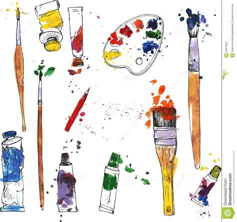 set  art materials stock vector illustration  dirty