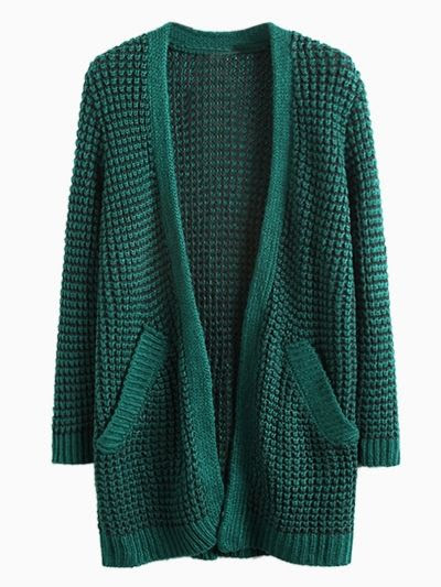 Dark Green Pocket Loose Longline Knit Cardigans