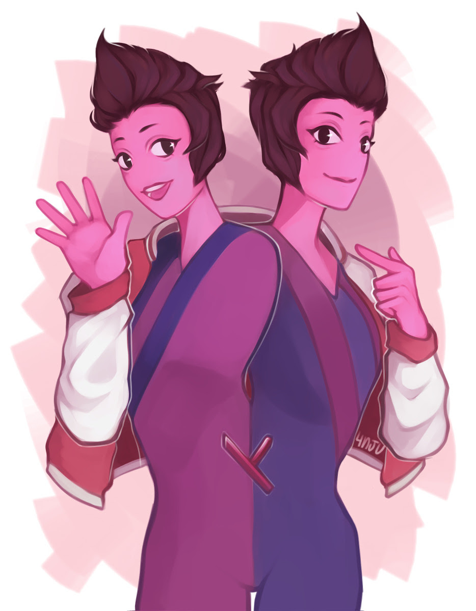 cinnamon twins with a cool red jacket
