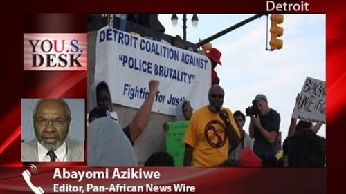 Abayomi Azikiwe, editor of the Pan-African News Wire, addresses crowd at Grand Circus during a rally protesting the not-guilty verdict for George Zimmerman in the murder trial for Trayvon Martin. by Pan-African News Wire File Photos