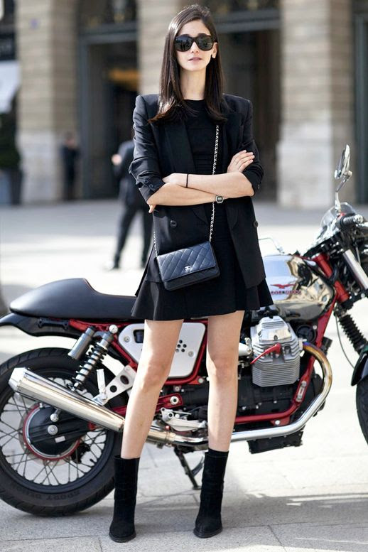 Le Fashion Blog Street Style Pfw All Black Look Dress Blazer Chanel Crossbody Bag Suede Boots Via Popsugar