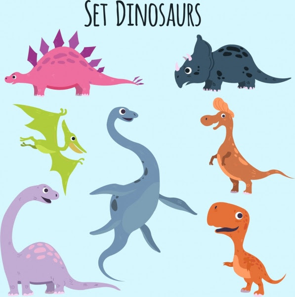 Dinosaurus Ikon Koleksi Desain Lucu Kartun Berwarna Vektor Icon