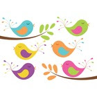 Clip Art Baby Birds and Tree Branches