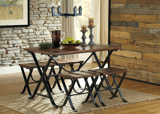 Freimore Rectangular Dining Table w/ 4 Stools