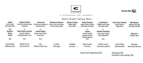 2012-Sep C Restaurant Chef's Grand Tasting Menu