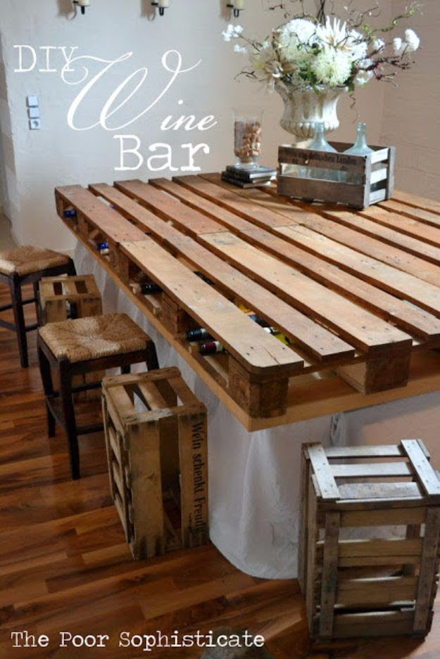 DIY Pallet Furniture Ideas - DIY Pallet Wine Bar - Best Do It Yourself Projects Made With Wooden Pallets - Indoor and Outdoor, Bedroom, Living Room, Patio. Coffee Table, Couch, Dining Tables, Shelves, Racks and Benches http://diyjoy.com/diy-pallet-furniture-projects
