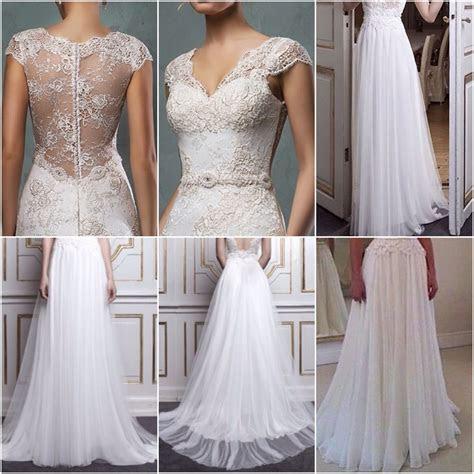 Lace Top and Beach Chiffon Bottom Combined Bridal Dress