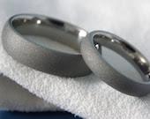 Titanium Ring SET Matte Sandblasted Gray Wedding Bands - titaniumknights
