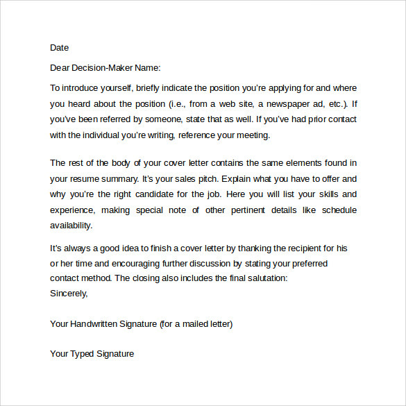 12 Cover Letter Format Examples To Download Sample Templates