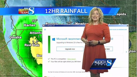 Even weather forecasts aren't safe from Windows 10 upgrade prompts